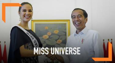 Presiden Jokowi menerima Miss Universe 2018 Catriona Gray dan rombongan Putri Indonesia 2019 di Istana Bogor.