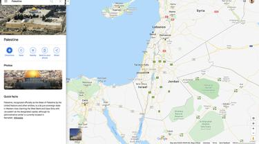 Tangkap layar wilayah Palestina di Google Maps pada Minggu 19 Juli 2020 (Liputan6.com)
