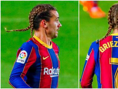 Penyerang Barcelona, Antoine Griezmann, tampil beda dengan gaya rambut baru saat melawan Real Sociedad di Liga Spanyol. Selain handal dalam mengolah si kulit bundar, pemain timnas Prancis ini juga dikenal sebagai pria yang sering gonta-ganti gaya rambut.