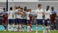 Selebrasi pemain Tottenham saat kalahkan West Ham di lanjutan Liga Inggris (AP)