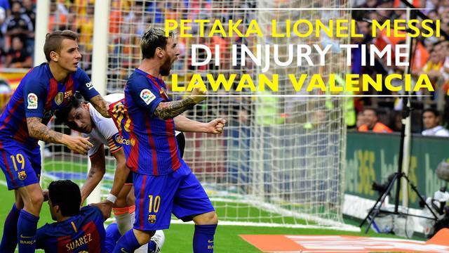 Video Valencia vs Barcelona yang berakhir dengan skor 2-1 secara dramatis, Lionel Messi menjadi penyelamat Barcelona di masa injury time.