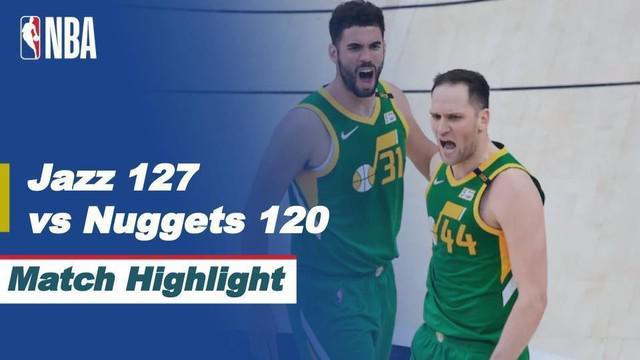 Berita video highlights laga musim reguler NBA 2020/2021 antara Utah Jazz melawan Denver Nuggets yang berakhir dengan skor 127-120, Sabtu (8/5/2021) pagi hari WIB.