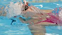 Pertandingan 4x100 meter gaya ganti estafet putri di aquatic center GBK (ANTARA FOTO/INASGOC/M Risyal Hidayat)