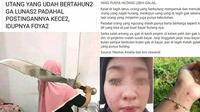6 Status Facebook Nagih Utang Ini Bikin Geregetan (sumber: FB Kementrian Humor Indonesia dan Tina Maharanie)