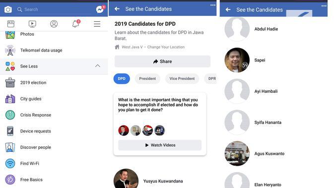 Facebook hadirkan fitur Info Kandidat untuk membantu pengguna Indonesia mengenali caleg legislatif yang hendak dipilihnya (Liputan6.com/ Agustin Setyo W)