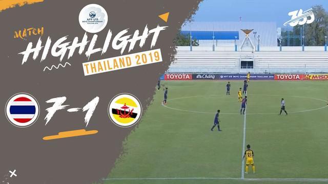 Berita video highlight Thailand saat mengalahkan Brunei Darussalam 7-1 di Grup B Piala AFF U-15 2019, Selasa (30/7/2019).