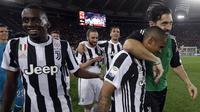 Juventus memastikan scudetto musim ini setelah bermain imbang tanpa gol melawan AS Roma di Stadion Olimpico, Senin (14/5/2018) dini hari WIB.  (AP Photo/Gregorio Borgia)