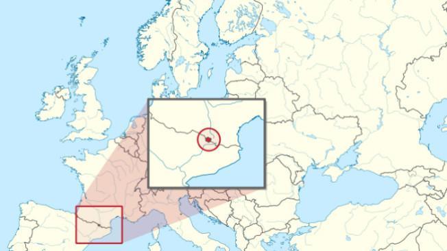 Kerajaan Andorra yang terletak di antara Prancis dan Spanyol. (Sumber Wikimedia Commons/TUBS)