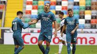 Striker AC Milan, Zlatan Ibrahimovic (tengah). (Andrea Bressanutti/LaPresse via AP)
