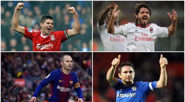 Berikut ini pemain bernomor punggung 8 paling legendaris sepanjang masa. Diantaranya, Steven Gerard, Frank Lampard dan Andres Iniesta. (Foto Kolase AFP)