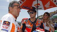Pembalap Repsol Honda, Dani Pedrosa, sebelum memulai balapan MotoGP Italia. (MotoGP)
