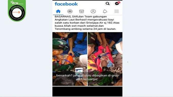 Gambar Tangkapan Layar Foto yang Diklaim Bayi Korban Selamat dari Jatuhnya Pesawat Sriwijaya Air SJ 182 (sumber: Facebook)