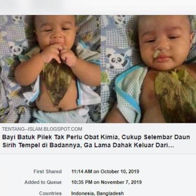 Cek Fakta Bayi Batuk Pilek Tak Perlu Obat Kimia Cukup Selembar Daun Sirih Cek Fakta Liputan6 Com