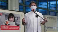 Di Bandar Udara Internasional Soekarno Hatta, Tangerang, Banten, Minggu, 18 April 2021, Menteri Kesehatan RI Budi Gunadi Sadikin berharap program vaksinasi COVID-19 di seluruh provinsi April-Mei 2021 berjalan lancar. (Dok Kementerian Kesehatan RI)
