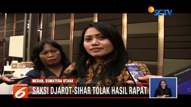 Hasil rapat pleno, pasangan ERAMAS ungguli Pilkada Sumut. Sementara itu, saksi Djarot - Sihar enggan tanda tangani berita acara rekapitulasi suara.