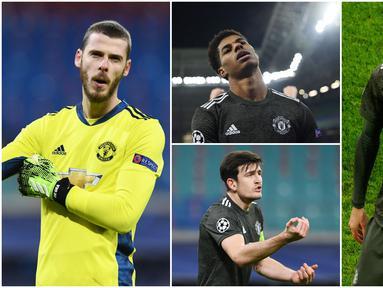 Para penggawa Manchester United tak mampu menutupi kekecewaan usai tersingkir dari Liga Champions. Skuat Ole Gunnar Solskjaer itu menyerah 3-2 di kandang RB Leipzig.