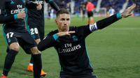 Sergio Ramos mencetak satu gol saat Real Madrid menang 3-1 atas Leganes pada laga tunda pekan ke-16 La Liga Spanyol di Estadio Municipal de Butarque, Rabu (21/2/2018). (AP Photo/Francisco Seco)