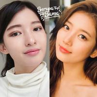 Seperti adik kakak, beauty influencer ini tampil stunning dengan dandanan ala Bae Suzy. (Sumber foto: cindythefannie, skuukzky/instagram)