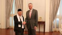 Cawapres Ma'ruf Amin bertemu dengan PM Singapura Lee Hsien Loong (foto: Tim kampanye nasional Ma'ruf Amin)