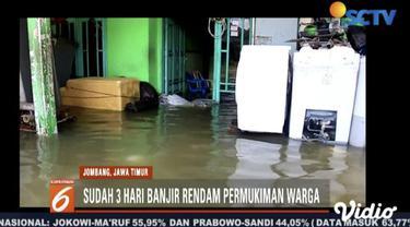 Banjir yang menerjang Kesamben, Jombang, meluas hingga merendam jalan alternatif  Jombang-Mojokerto.