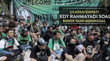Edy Rahmayadi, Ketua Umum PSSI mengungkapkan rasa simpatinya kepada Bonek Mania yang meninggal di Subang, Jawa Barat