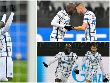 Striker Inter Milan, Romelu Lukaku, tampak bahagia usai membawa klubnya menang di kandang Borussia Moenchengladbach pada laga Liga Champions. Pemain asal Belgia itu tampil apik dan mencetak dua gol.
