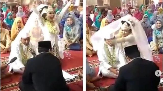 reaksi kocak mempelai wanita (foto: instagram/@makassar_iinfo)