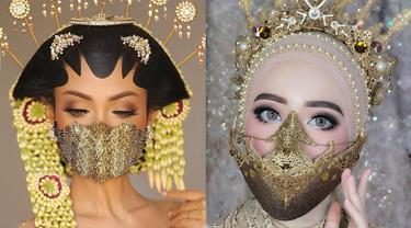 6 Gaya Pengantin Wanita Pakai Masker Unik Saat Menikah di Tengah Corona