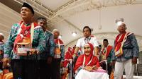Jemaah Haji Indonesia Tiba di Bandara Prince Mohammed bin Abdul Aziz, Madinah.Foto: Darmawan/MCH