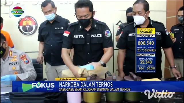 Ditresnarkoba Polda Jawa Timur berhasil menggagalkan penyelundupan sabu seberat 6 kilogram dari Malaysia menuju Madura. Modus aksi ini dengan menyimpan sabu ke dalam termos dan dikemas dalam bungkusan.