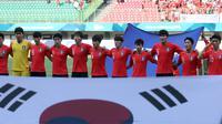 Timnas Korea Selatan U-23 sebelum melawan Uzbekistan di perempat final Asian Games 2018 di Stadion Patriot Candrabhaga, Bekasi, Senin (27/8/2018). (Bola.com/Dok. INASGOC)