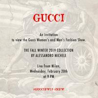 Saksikan live streaming Gucci Women's and Men's Fall Winter 2019 secara langsung dari panggung Milan Fashion Week.