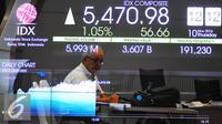 Pengunjung mengamati layar indeks harga saham gabungan di Bursa Efek Indonesia, Jakarta, Kamis (10/11). Indeks harga saham gabungan (IHSG) pada perdagangan Kamis, 10 November 2016, dibuka di teritori positif di level 5.444,04. (Liputan6.com/Angga Yuniar)