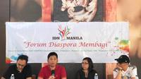 Para pembicara dan moderator dalam agenda bincang diaspora di Manila, Filipina, pada Sabtu, 12 Mei 2018 (Liputan6.com/Happy Ferdian Syah Utomo)