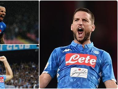 Penyerang Napoli, Dries Mertens, sukses mencetak golnya yang ke-122 dan mengejar Marek Hamsik sebagai pencetak gol terbanyak di Napoli. Berikut Dries Mertens dan pencetak gol terbanyak di Napoli. (kolase foto AFP)
