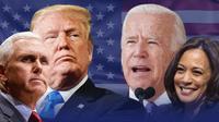 Ilustrasi Pilpres AS 2020, Donald Trump-Mike Pence dan Joe Biden-Kamala Harris. (Liputan6.com/Tri Yasni)