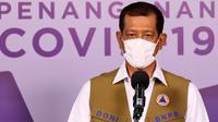 Ketua Satuan Tugas Penanganan COVID-19 Doni Monardo sampaikan Satgas berikan bantuan masker kepada panitia perayaan pernikahan putri Rizieq Shihab saat konferensi pers di Graha BNPB, Jakarta, Sabtu (14/11/2020). (Tim Komunikasi Satgas COVID-19)