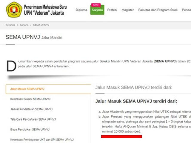 Upn Veteran Jakarta Buka Jalur Masuk Khusus Youtuber Apa Syaratnya News Liputan6 Com