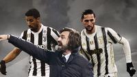 Andrea Pirlo, Sami Khedira dan Adrien Rabiot. (Bola.com/Dody Iryawan)
