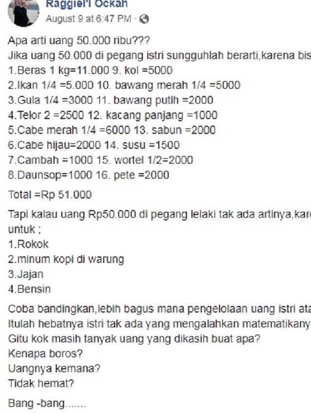 unggahan wanita soal belanjaan ini jadi viral (foto: facebook Raggiel'l Ockah)