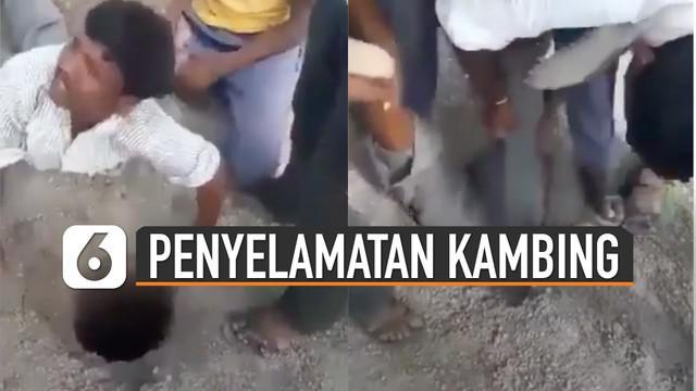 Seorang pria diberi tugas untuk masuk mengambil kambing di sebuah lubang.