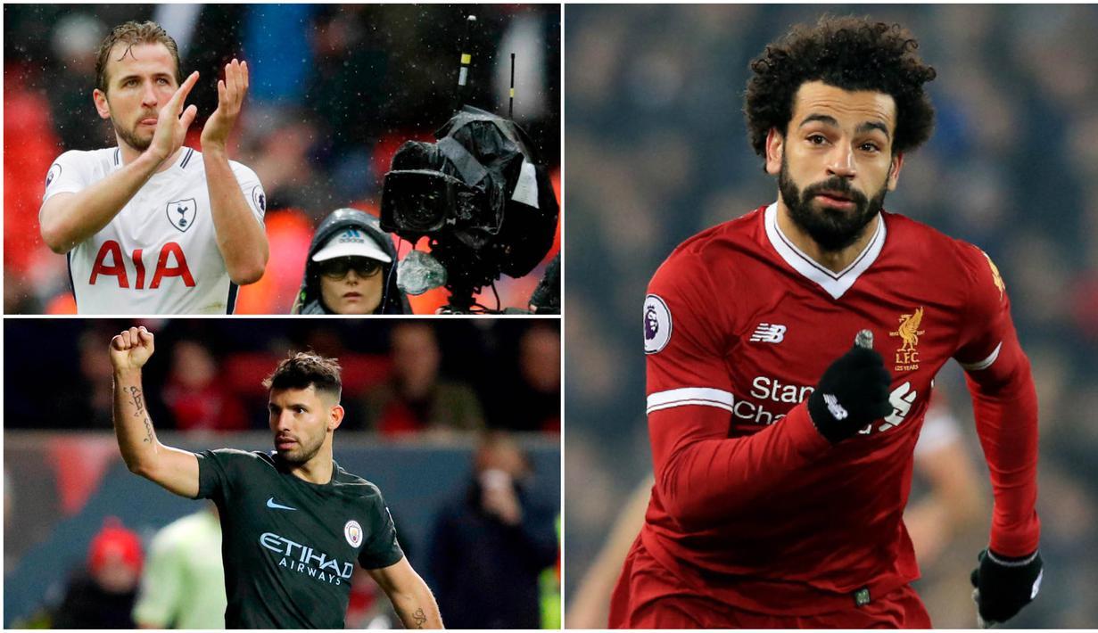 Berikut ini top scorer sementara Premier League musim 2017/2018 hingga pekan ke-30. Mohamed Salah dan Harry Kane sama-sama mengoleksi 24 gol. (Kolase foto-foto AP dan AFP)