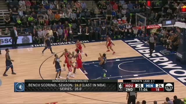 Berita video game recap NBA 2017-2018 antara Houston Rockets melawan Minnesota Timberwolves dengan skor 119-100.