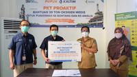 Pupuk Kaltim (PKT) menyalurkan bantuan 30 ton oksigen medis