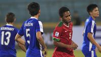 Pemain Indonesia's Rizki Ramdani Lestaluhu usai mencetak gol ke gawang Laos (Reuters)