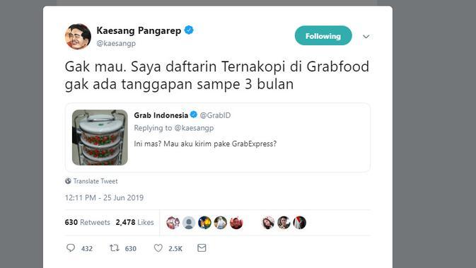 Putra Presiden Jokowi, Kaesang Pangarep, memprotes Grab karena sudah tiga bulan mendaftarkan usaha kulinernya ke Grabfood belum ada tanggapan (Twitter @kaesangp)