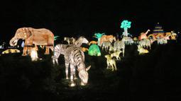 Sejumlah lentera hewan dipamerkan dalam festival The Great Lanterns of China di Pakruojis Manor, Lithuania, Rabu (25/12/2019). Festival ini berlangsung hingga 6 Januari 2019. (Petras MALUKAS/AFP)