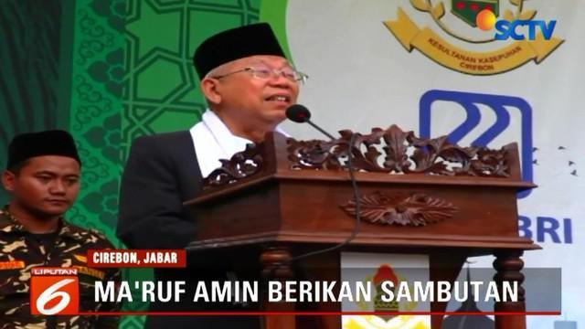 Ma'ruf Amin memberikan sambutan dalam penutupan festival Tajug Hari Santri Nasional.