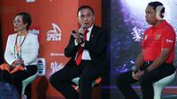 Ketum PSSI Mochamad Iriawan (tengah) menghadiri konferensi Pers sekaligus Launcing Shopee Liga 1 2020 di Hotel Fairmont, Jakarta, Senin (24/2/2020). Shopee Liga 1 2020 yang berlangsung pada 29 Februari hingga 1 November 2020 tersebut diikuti 18 klub terbaik Indonesia. (Liputan6.com/Johan Tallo)
