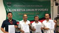 KPH. H. Yudanegara, Ph.D (anggota/ketua Pordasi DI Yogyakarta/paling kiri), Alex Asmasoebrata (Ketua tim penjaringan/Ketua Pordasi DKI Jaya), Jupri Mardi (Sekertaris) dan Widodo Edi Sektianto (KONI Pusat) jadi anggota tim penjaringan (istimewa)